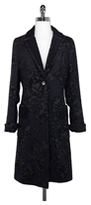 Etro Milano Navy & Black Floral Print Wool Coat