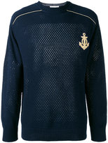 Pierre Balmain embroidered pointelle-knit sweater