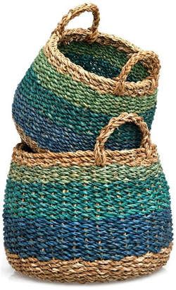 Fab Habitat Harlem, Blue Storage Basket, Set of 2