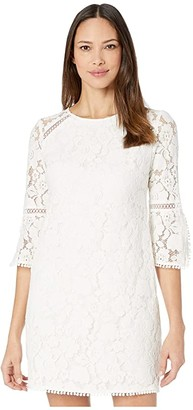 Vince Camuto Lace Shift Dress w/ Trim Detail (Ivory) Women's Dress