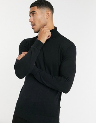 French Connection 100% cotton roll neck sweater in black