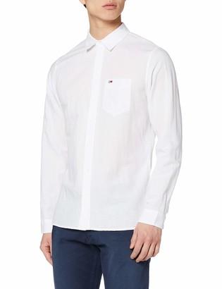 Tommy Jeans Men's TJM Linen Blend Shirt Casual