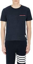 Thom Browne Men's Tricolor-Trimmed Cotton Jersey T-Shirt