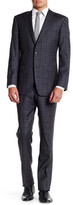 Ike Behar Charcoal Plaid Two Button Notch Lapel Wool Suit