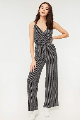 Ardene Striped Belted Crepe Jumpsuit