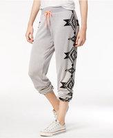 Miss Chievous Juniors' Aztec-Print Heathered Sweatpants
