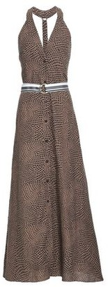 Diane von Furstenberg Belted Printed Linen Maxi Dress