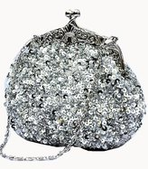 Chicastic Fully Sequined Mesh Beaded Antique Style Wedding Evening Formal Cocktail Clutch Purse