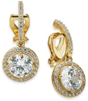 Eliot Danori Cubic Zirconia Clip-On Drop Earrings, Created for Macy's