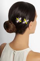Jennifer Behr Set of two rhodium-plated crystal hair slides