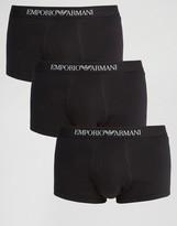 Emporio Armani Cotton Trunks In 3 Pack
