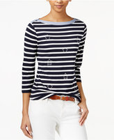 Tommy Hilfiger Studded Striped Top, Only at Macy's