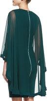 Elie Saab Sheath Dress with Sheer Cape