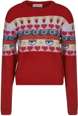 Chiara Ferragni Norwegian Crewneck Knit Sweater