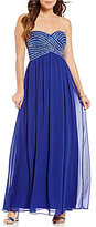 B. Darlin Strapless Bead Wrapped Bodice Long Dress