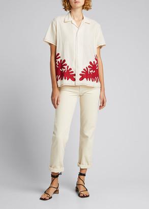 Bode Cutout Applique Cotton Shirt