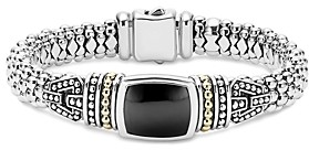 Lagos 18K Gold and Sterling Silver Caviar Color Bracelet with Black Onyx