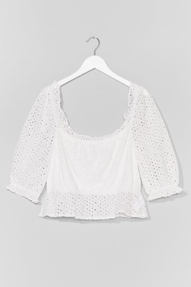 Nasty Gal Womens Broderie What You Mean Plus Top - White - 16