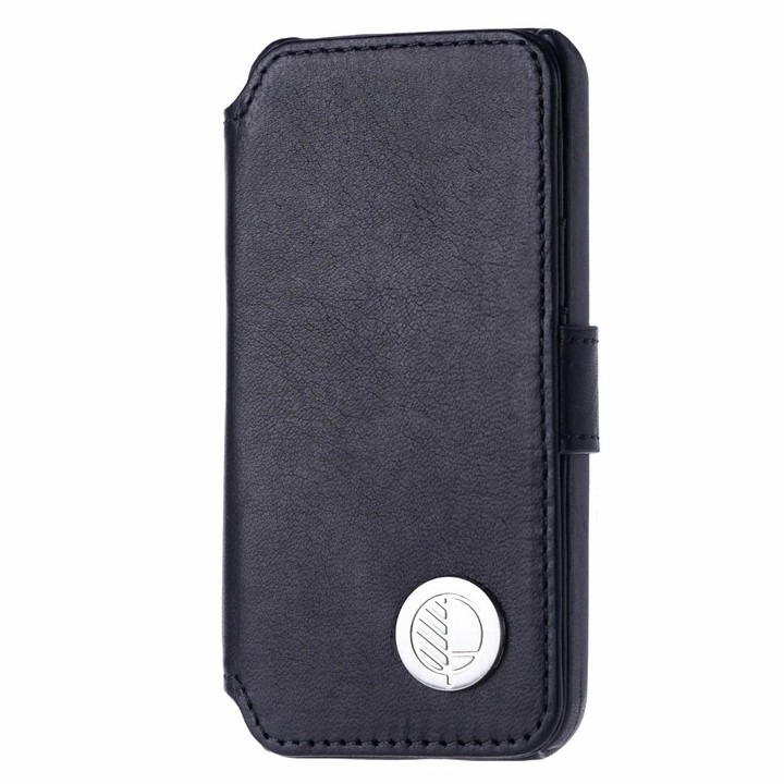 c96f245b7870 Drew Lennox iPhone SE 5 5S Luxury English Leather Phone Wallet with 3 Card  Slots in Verglas Black
