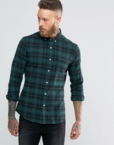 Asos Skinny Check Shirt In Khaki