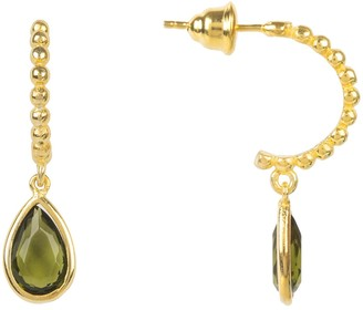 Latelita Palermo Beaded Hoop Gemstone Drop Earring Peridot Gold
