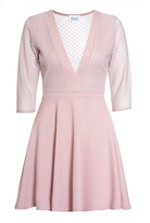 Quiz Nude Mesh Low Neck Skater Dress