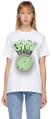 Ganni White Graphic Logo T-Shirt