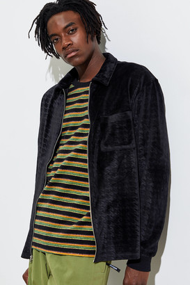 Urban Outfitters Velour Zip-Front Long Sleeve Polo Shirt