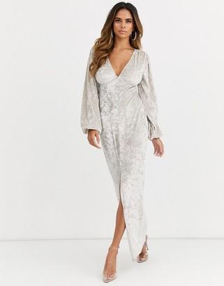 Asos Design DESIGN long sleeve button through velvet maxi dress-Silver
