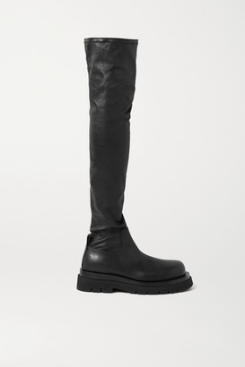 Bottega Veneta Rubber-trimmed Leather Over-the-knee Boots - Black