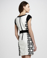 Laundry by Shelli Segal Cap-Sleeve Paneled Dress