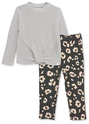 Sovereign Code Girls' Maisie Twist-Front Sweater & Alana Leopard Leggings Set - Baby