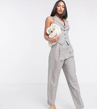Asos Tall ASOS DESIGN Tall mansy 3 piece suit pants in taupe texture