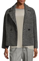 Peserico Cropped Wool-Blend Pea Coat, Charcoal