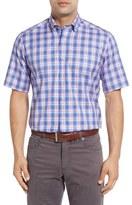 David Donahue Regular Fit Plaid Short Sleeve Sport Shirt