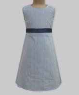 Midnight Navy Pinstripe Grace Dress - Infant Toddler & Girls