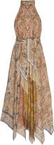 Zimmermann Freja Belted Paisley-Print Linen Halterneck Midi Dress