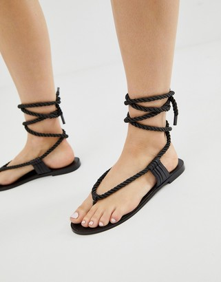Miista Eeight E8 by rope detail tie leather sandals-Black