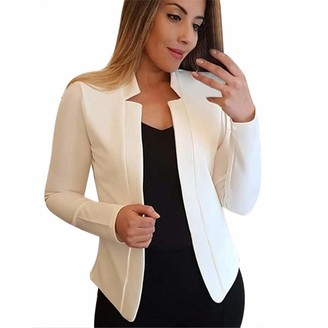 AOGOTO Womens Casual Blazer Ruched Sleeve Shawl Collar Work Office Suit Jackets Pink