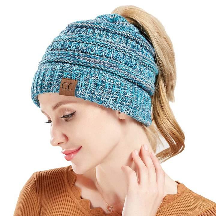 ff1562ebe Simoda CC Cable Ribbed Knit Beanie,Soft Stretch Winter Ponytail Cap Messy  Bun Beanie Hat Unisex