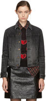 Saint Laurent Black Denim Heart and Lightning Bolt Jacket