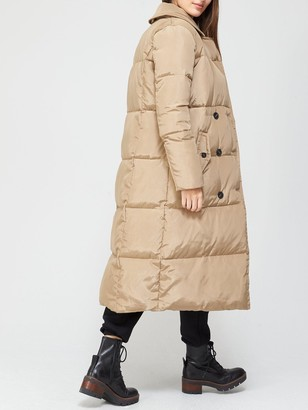 Very Premium Double Breasted Padded Coat - Stone