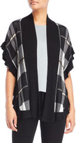 Joseph A Plaid Ruffled Cardigan