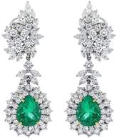 Platinum & Emerald Diamond Drop Earrings