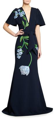Lela Rose Flutter-Sleeve Embellished Gown