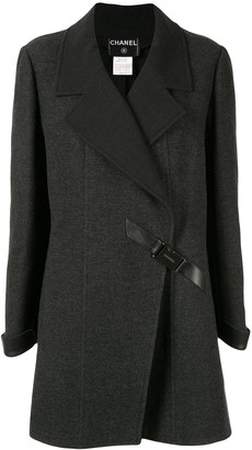 Chanel Pre Owned Diagonal Buckle Coat