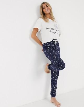 New Look tinkerbell pyjama sweatpants set in white