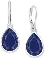 Nine West Silver-Tone Blue Teardrop Drop Earrings
