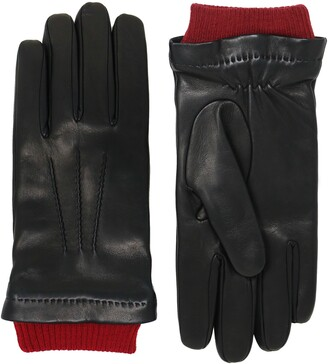 NICOLETTA ROSI Men's Ribbed Cuff Cashmere Lined Lambskin Leather Gloves