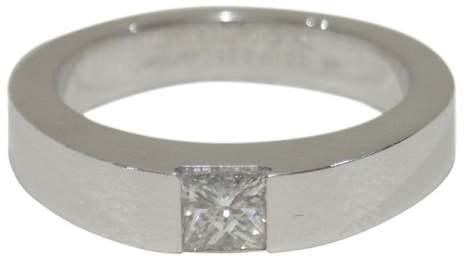 Cartier 18K White Gold 0.25ct. Diamond Tank Ring Size 4.5